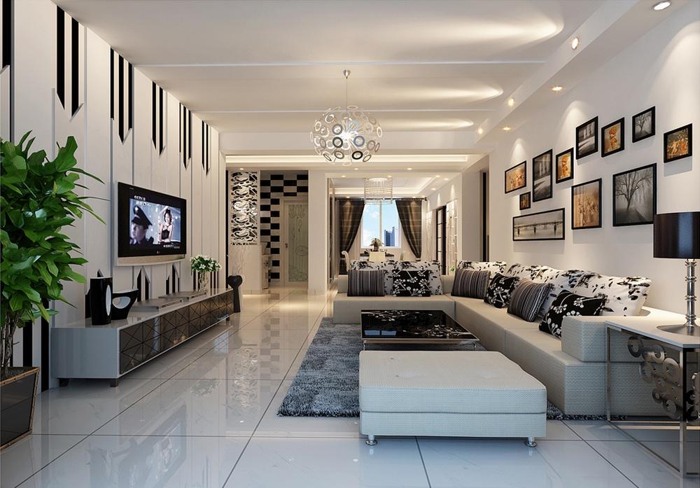 简约黑白色彩打造客厅电视背景墙装修效果图大全