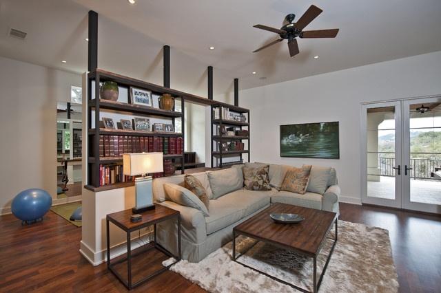23万打造现风代美式客厅博古架装修设计效果图