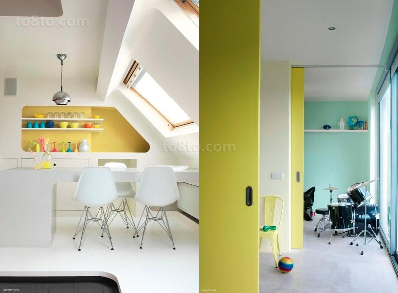 简约明朗的色彩打造小户型阁楼餐厅装修效果图