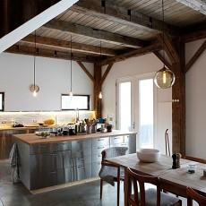 100万打造华丽美式别墅厨房橱柜装修效果图大全2014图片