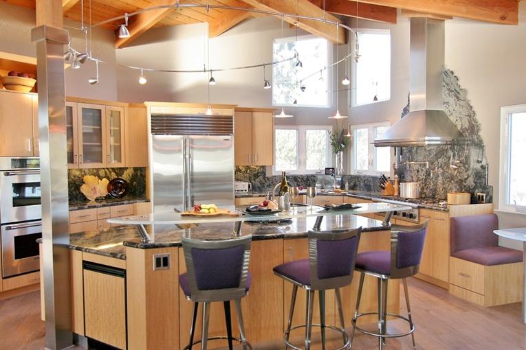 13万打造原木现代风格餐厅橱柜装修效果图大全2014图片
