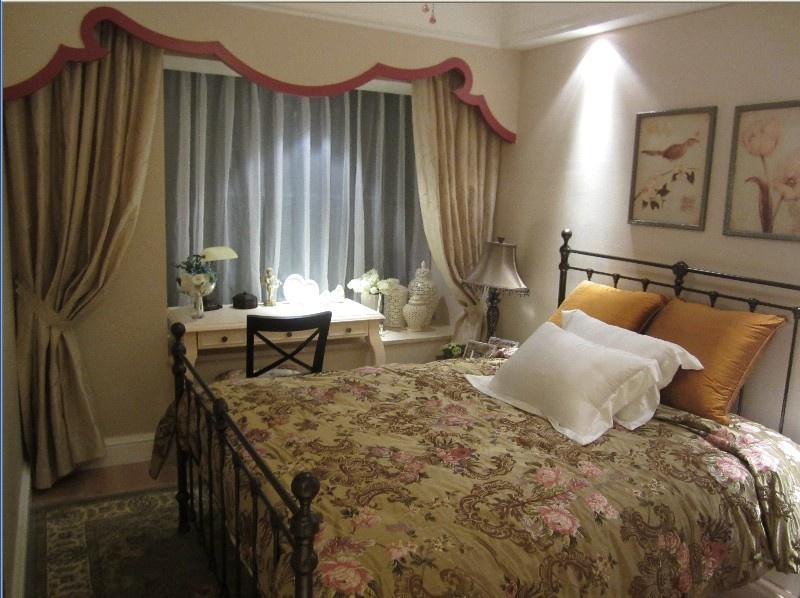 田园主卧室装修效果图大全2012图片 卧室飘窗窗帘装修设计图片