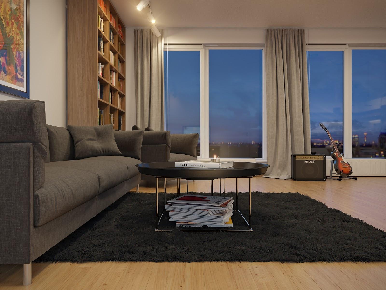 90平米小户型家庭客厅装修效果图大全2014图片