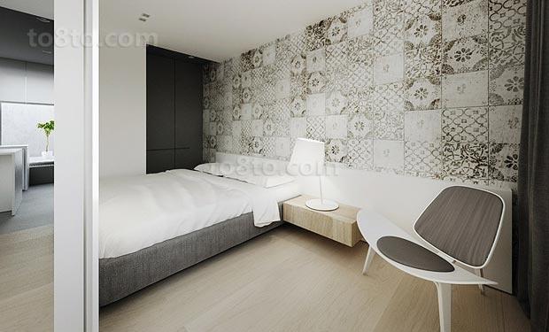 90平白色简约卧室背景墙的装修效果图