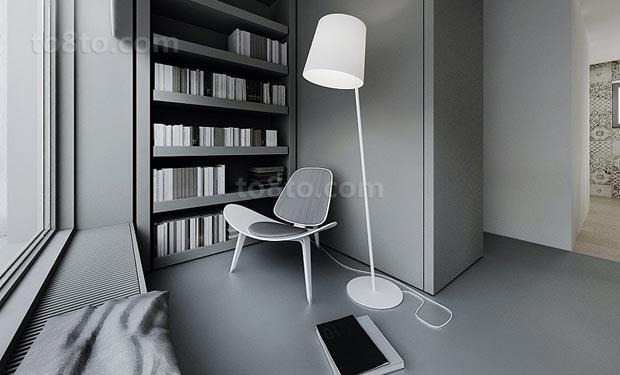90平白色简约的书房装修效果图