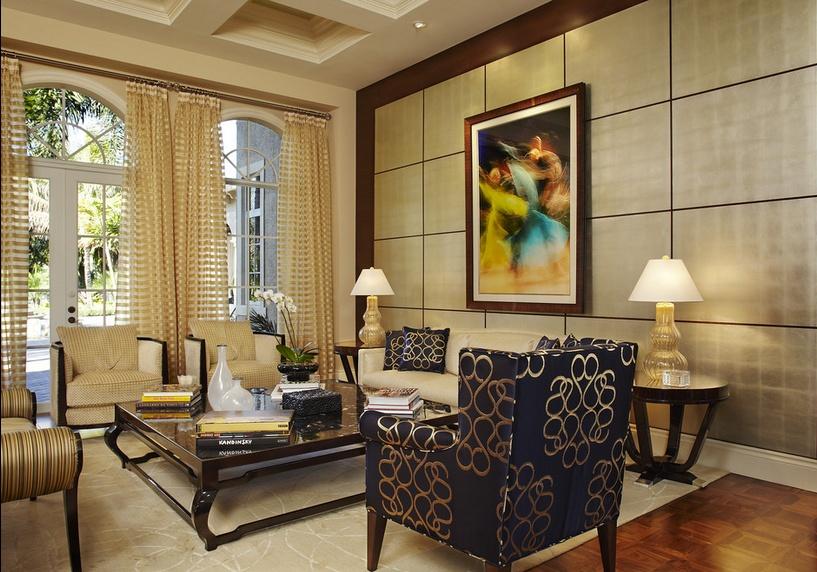 三居室美式古典风格客厅沙发装修效果图