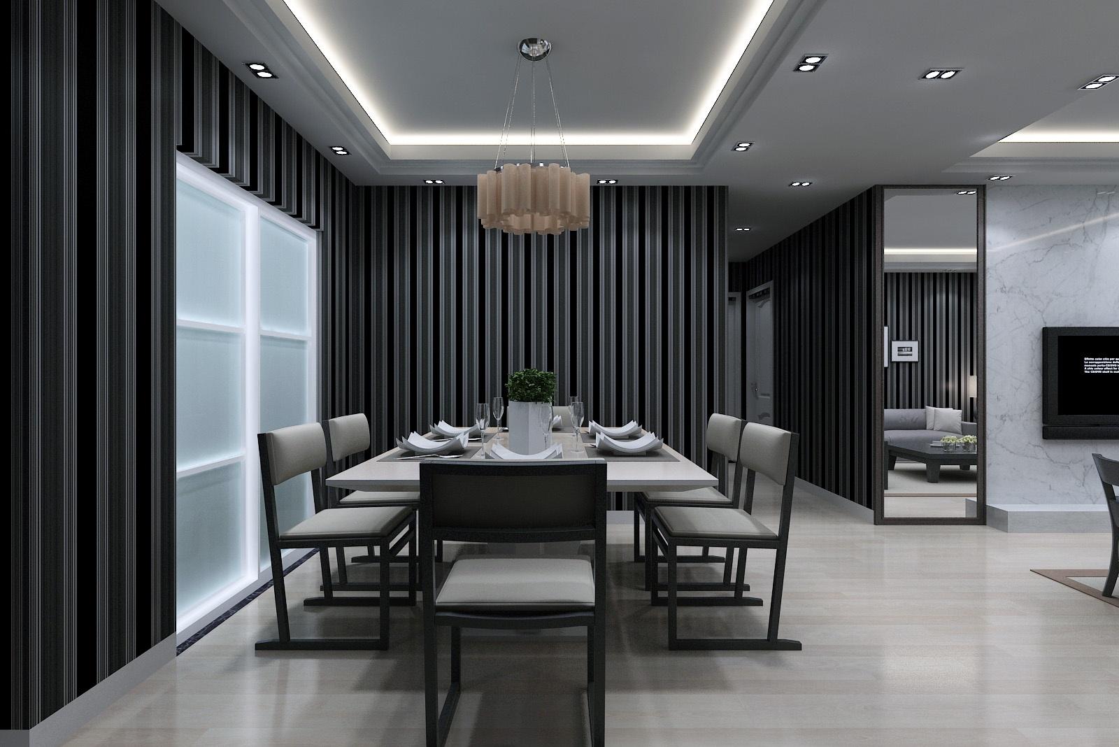 201896平米三居餐厅混搭装修效果图