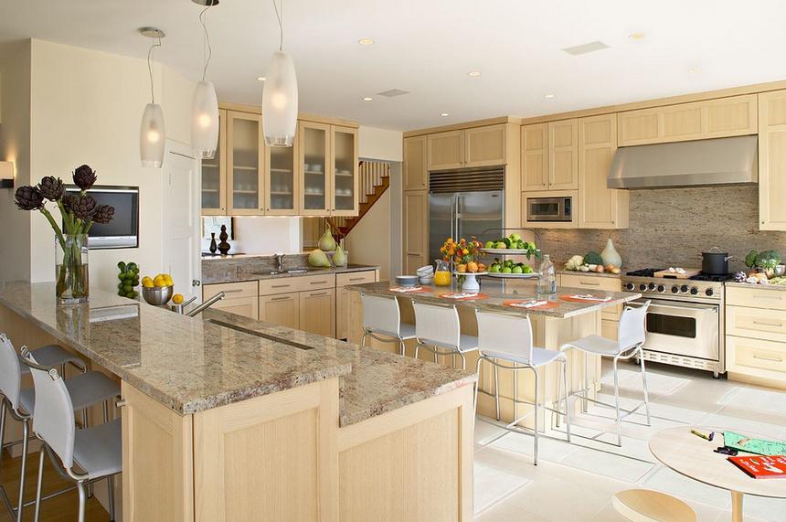 140㎡三室两厅欧式风格厨房橱柜装修效果图大全