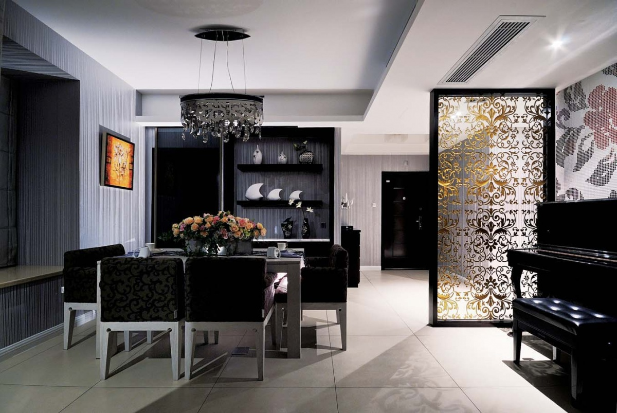 两房一厅黑白的典雅的餐厅装修效果图