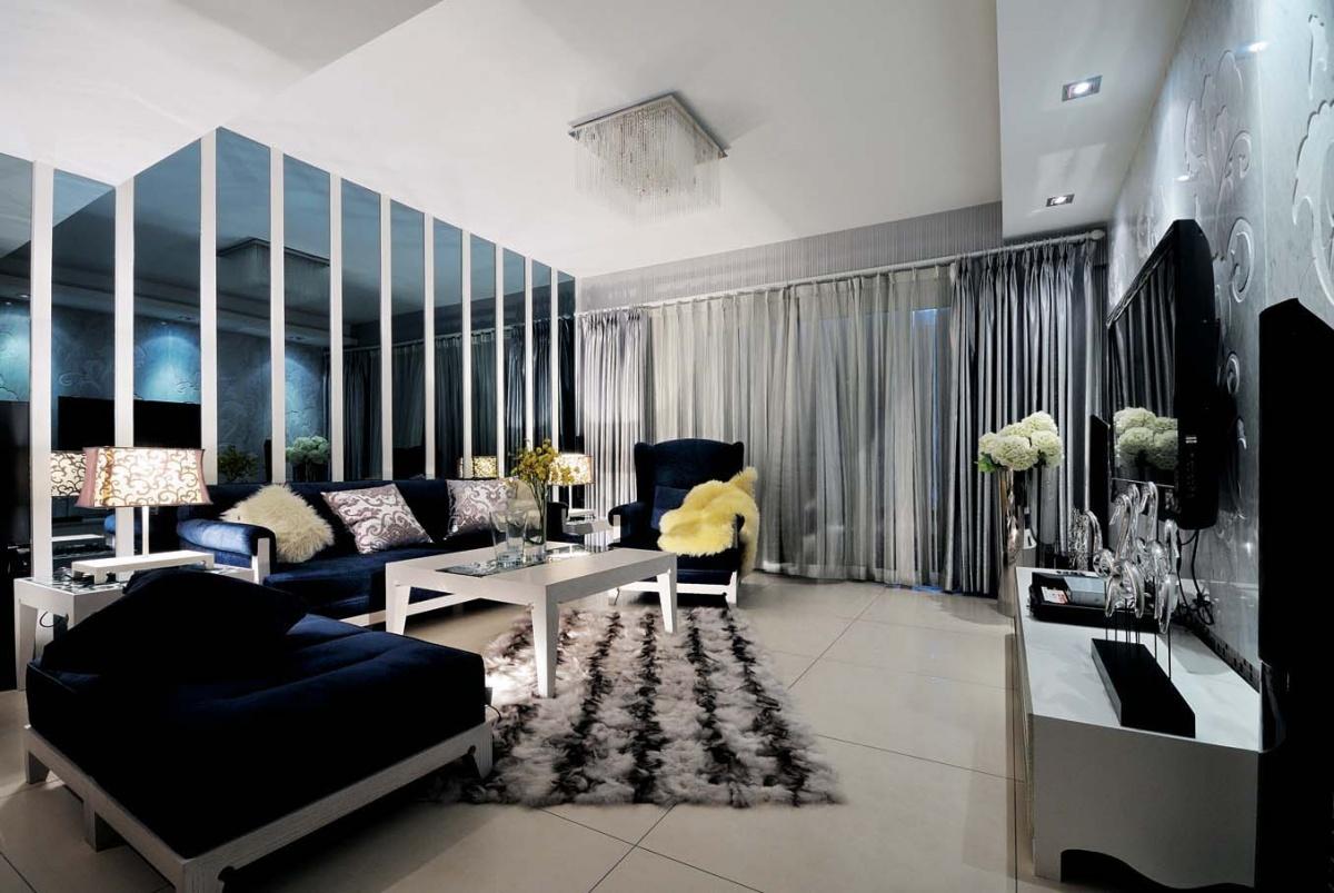 两房一厅黑白的典雅的客厅装修效果图