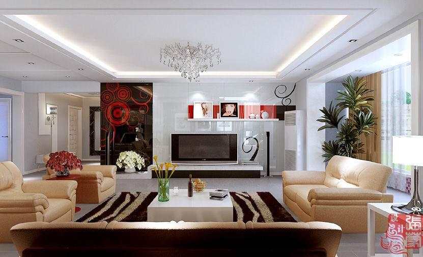 四居室现代风格电视背景墙装修效果图大全2014图片