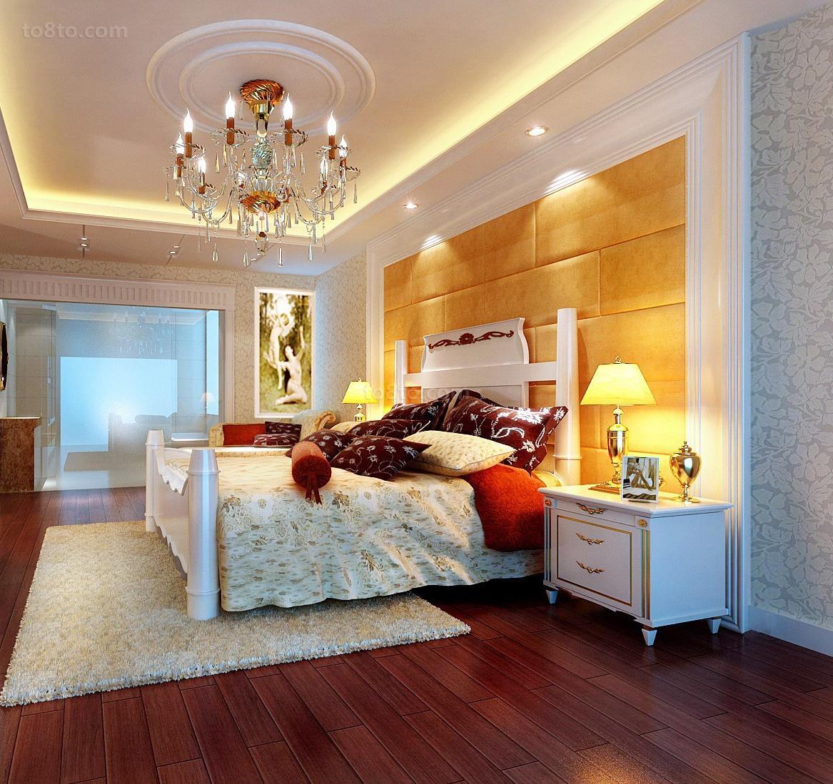 同鑫花园三居室卧室吊顶装修效果图大全2014图片