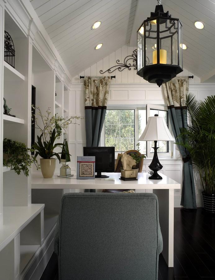 歐式別墅開放式最熱門書房集成吊頂窗戶窗簾電腦桌書柜裝修效果圖片