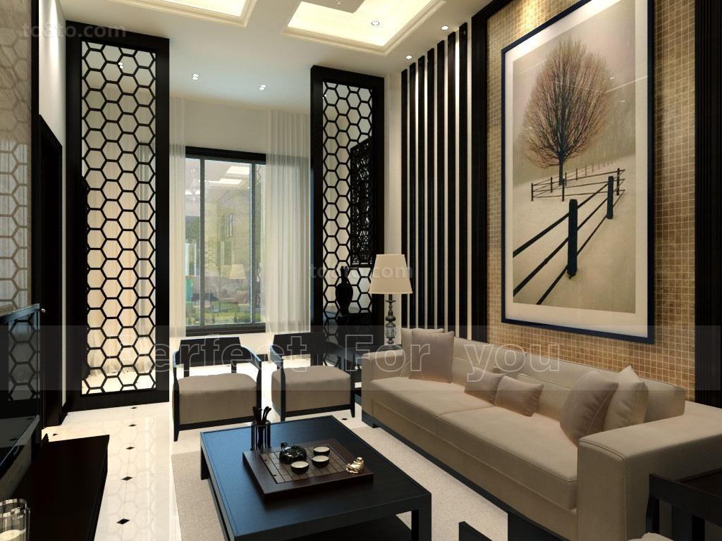2014最新中式现代风格客厅背景墙装修效果图