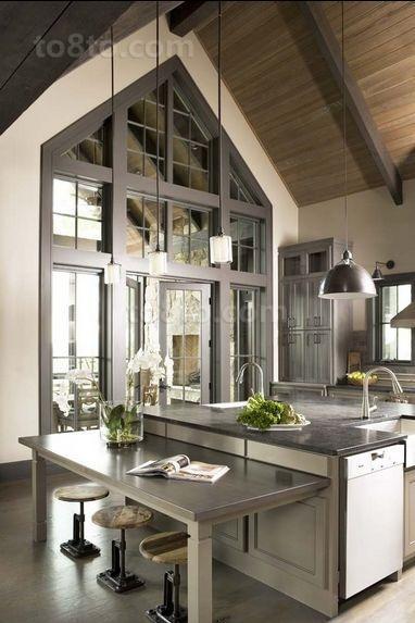 三室两厅灰色调客厅厨房装修效果图大全2014图片