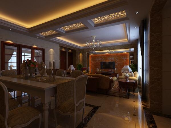 面积144平别墅客厅混搭装修效果图