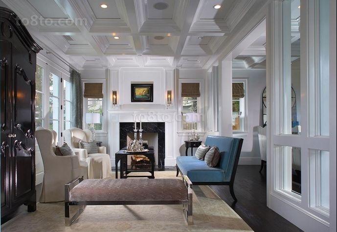 欧式高雅的复式楼客厅飘窗装修效果图大全2014图片