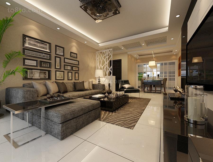 最火大小97平现代三居客厅装修设计效果图片
