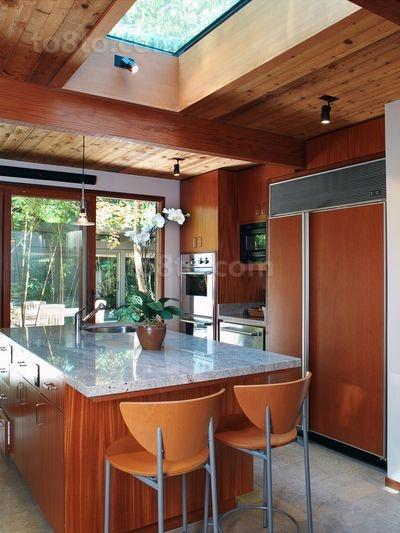 120㎡美式三居厨房橱柜装修效果图大全2014图片