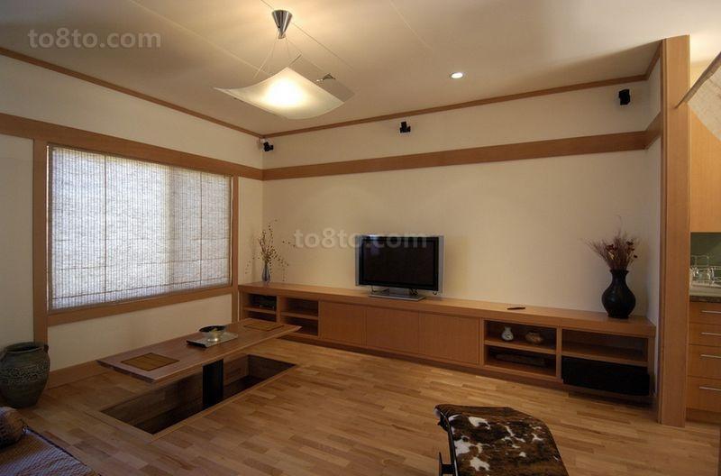 日式风格简约古朴的二居室客厅装修效果图