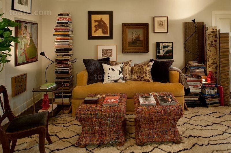美式田园浪漫的三居室客厅沙发装修效果图