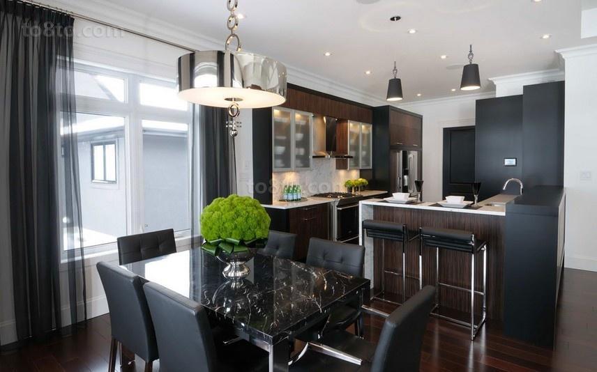 三居室现代暗色调餐厅橱柜装修效果图大全2014图片