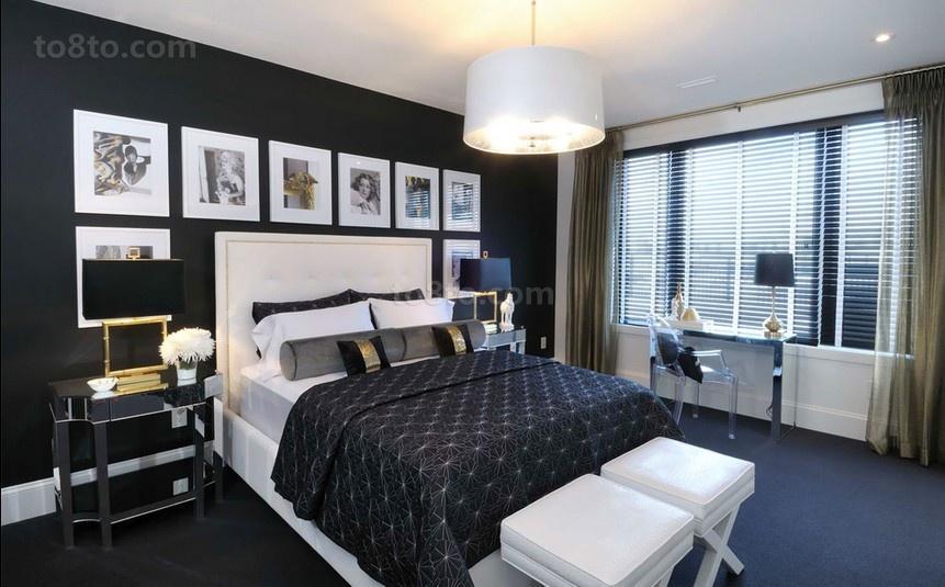 三居室现代暗色调卧室装修效果图大全2014图片