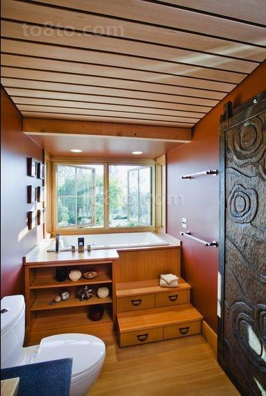 木艺朴质的小户型卫生间装修效果图大全2014图片