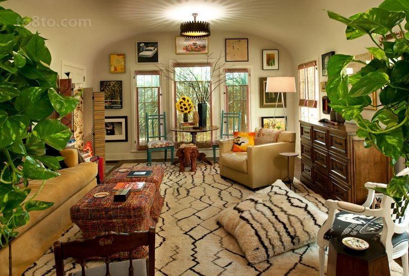 美式田园浪漫的三居室客厅装修效果图