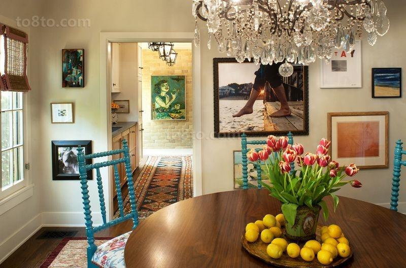 美式田园浪漫的三居室餐厅装修效果图