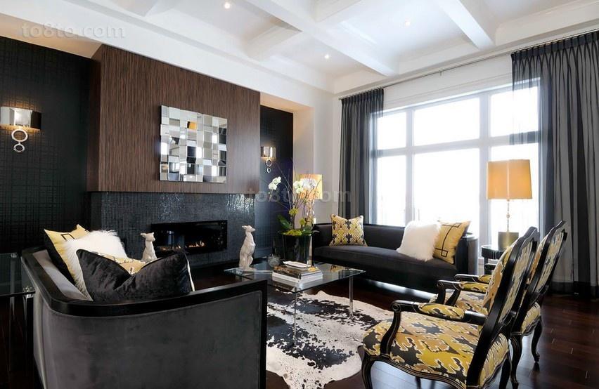 三居室现代客厅装修效果图大全2014图片