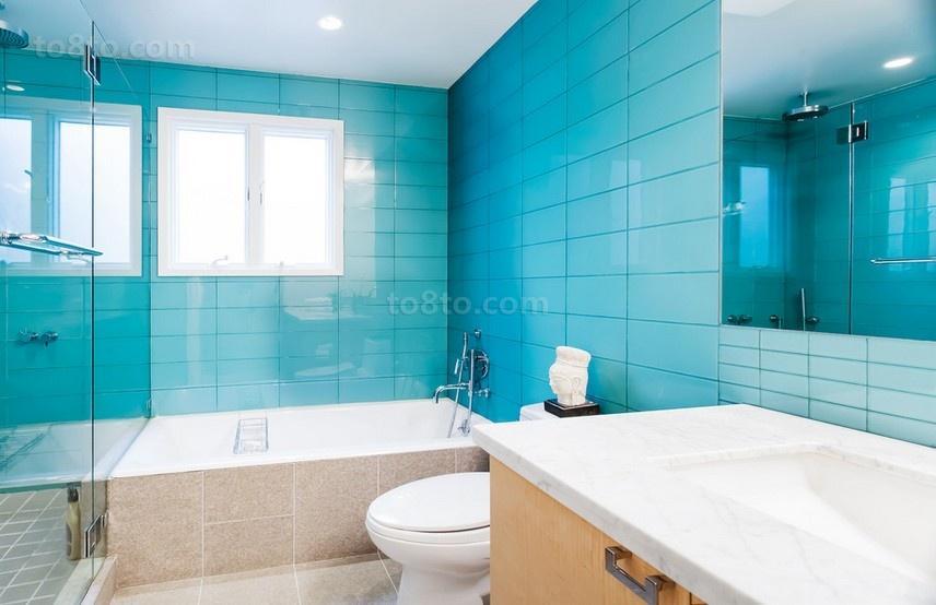 90平米小户型蓝色瓷砖卫生间装修效果图