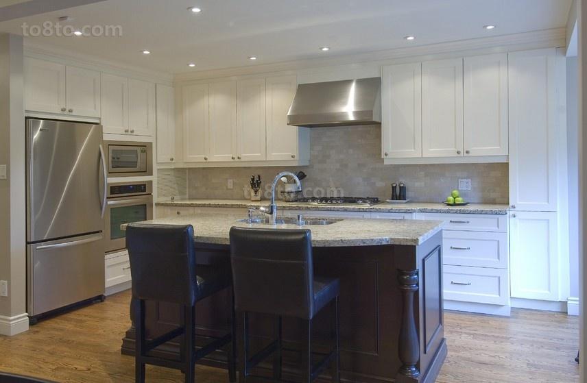 120平美式风格厨房整体橱柜效果图大全2014图片