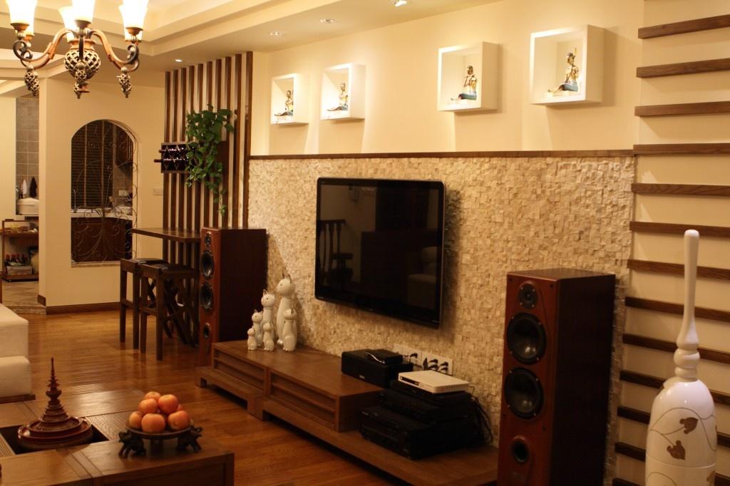 家裝三居室東南亞風格客廳柜子設計裝修效果圖