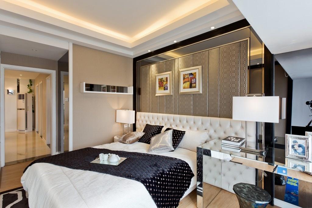 主卧室兼书房床头背景墙吊顶装修效果图片