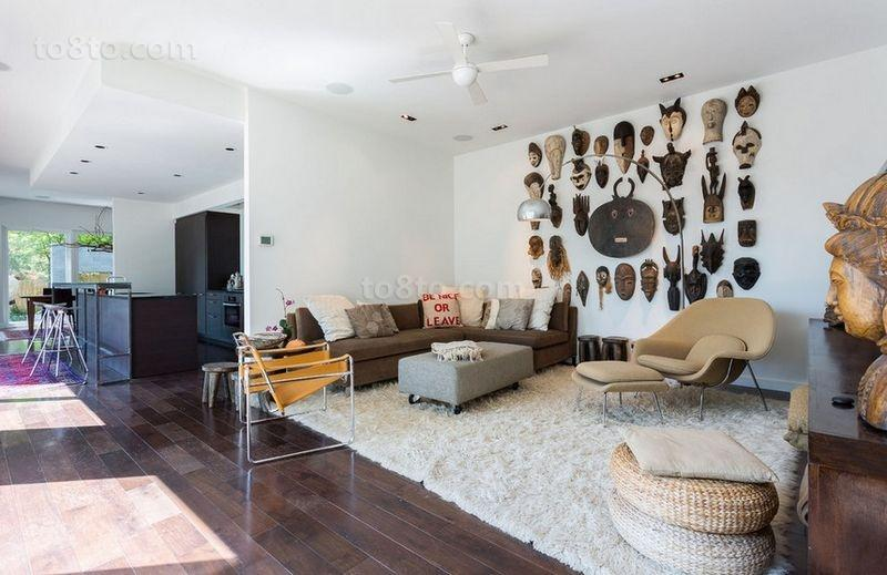 120平三房两厅美式现代风格客厅装修效果图大全2014图片