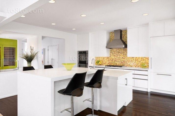白色清新整洁的厨房装修效果大全2014图片
