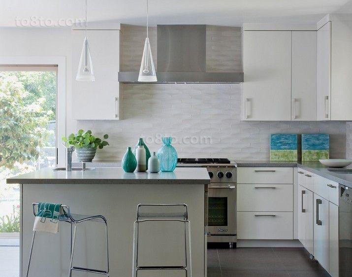 90㎡小户型清新简约风格厨房整体橱柜装修效果图