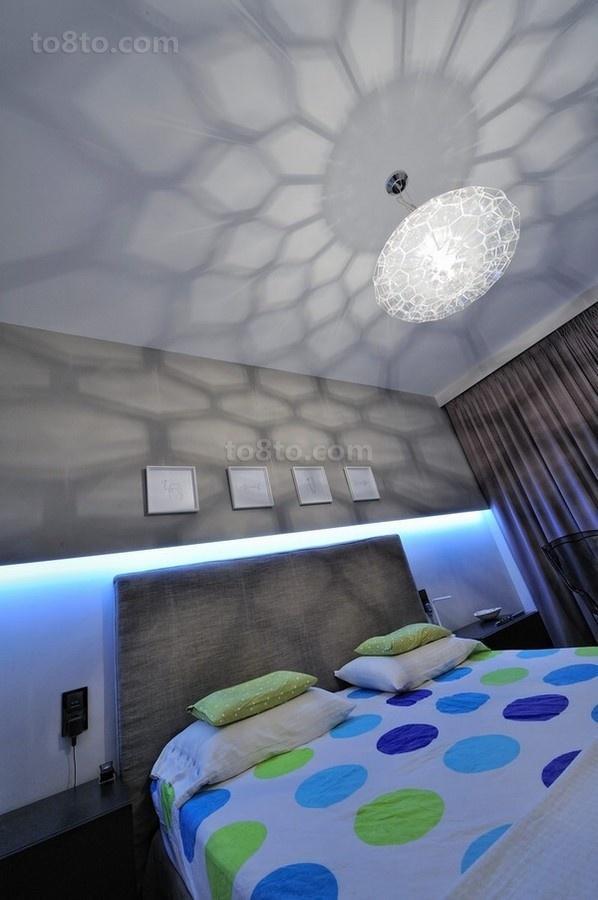 90㎡小户型现代动感卧室吊顶装修效果图