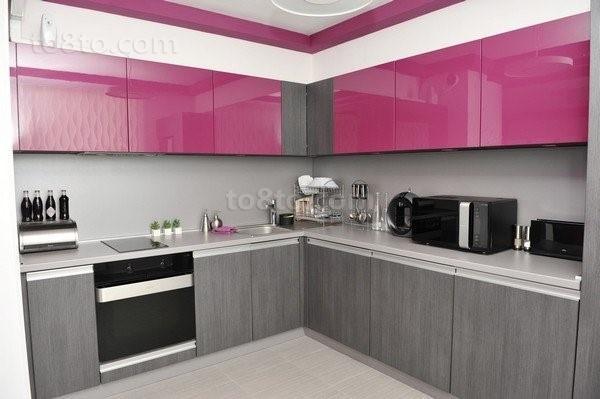 紫色情迷打造小户型厨房装修效果图大全2014图片