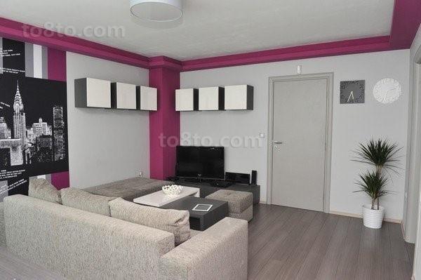 紫色情迷打造小户型客厅装修效果图大全2014图片