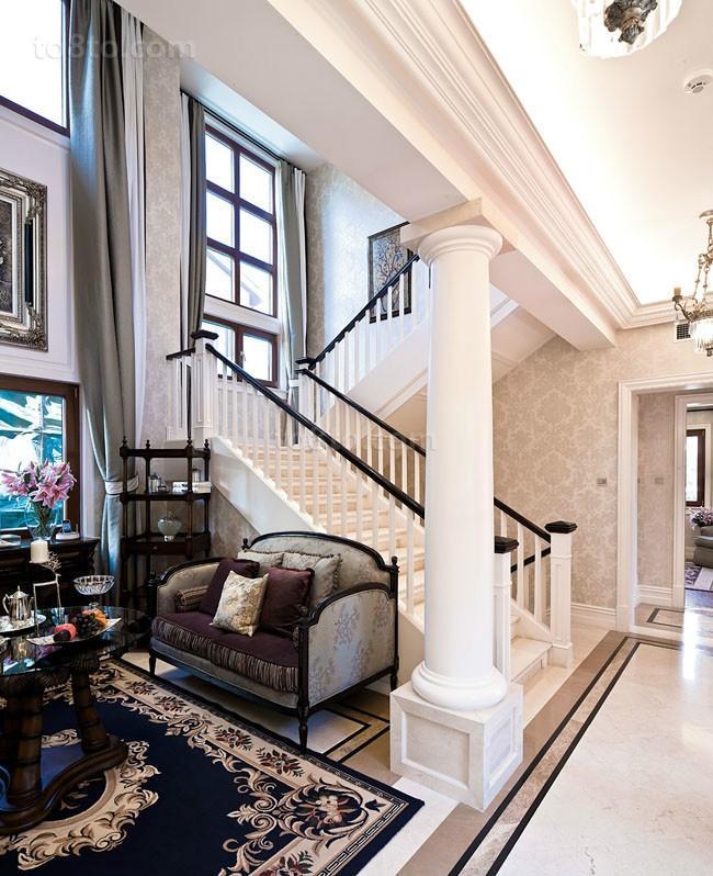 欧式奢华的别墅过道装修效果图大全2014图片