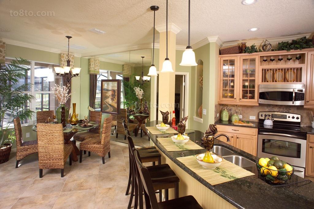 美式田园餐厅厨房一体装修效果图