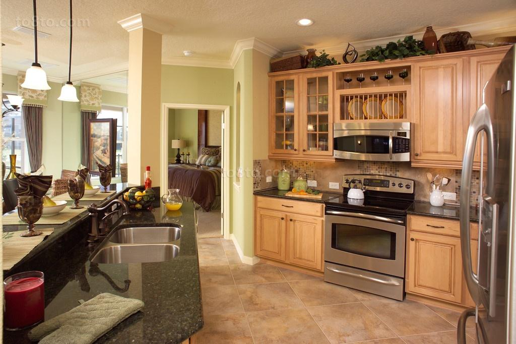 美式田园厨房橱柜装修效果图