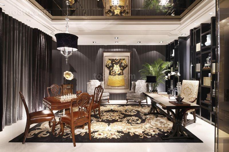 别墅图片大全 美式奢华的书房装修效果图