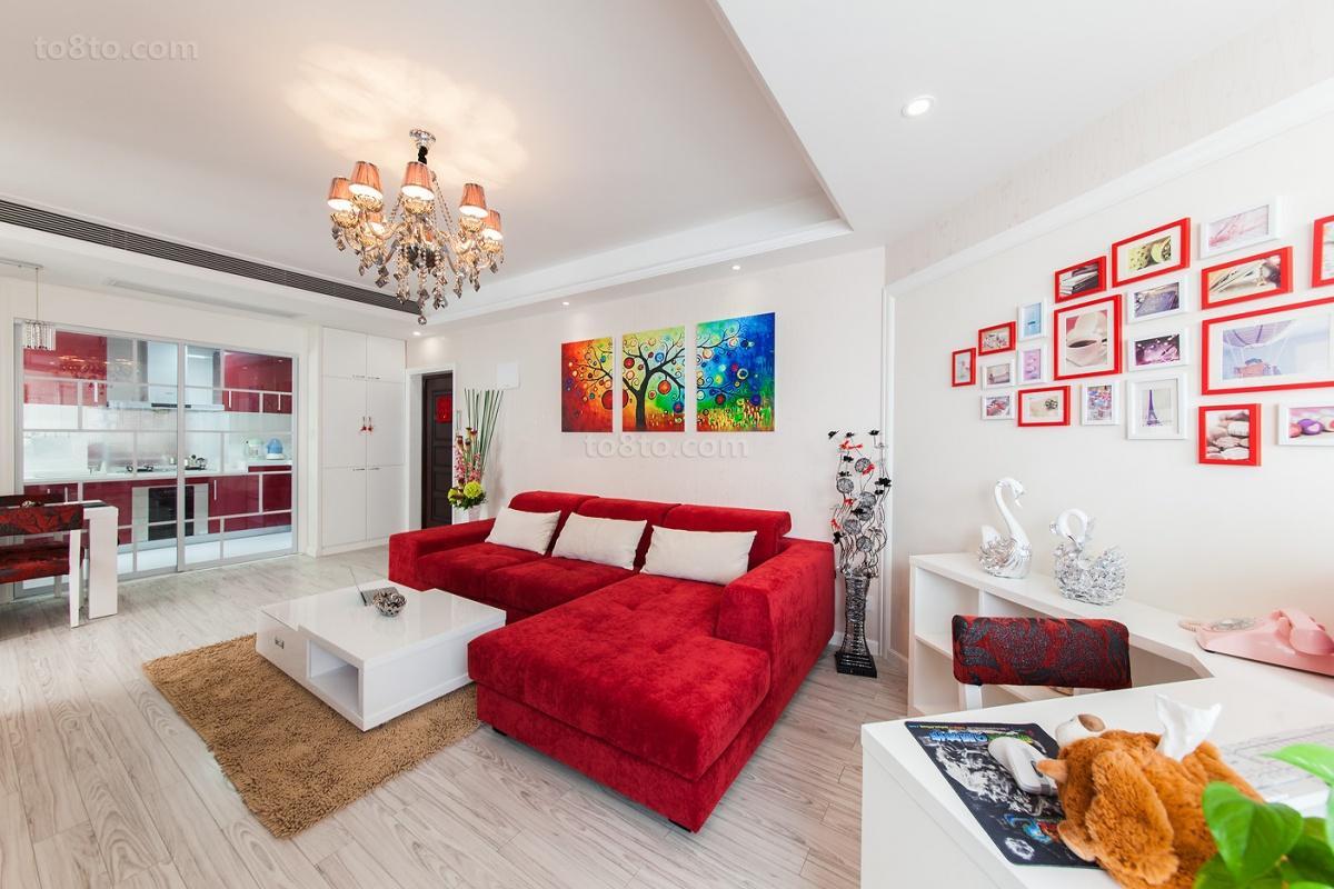精美面积77平小户型客厅现代效果图片