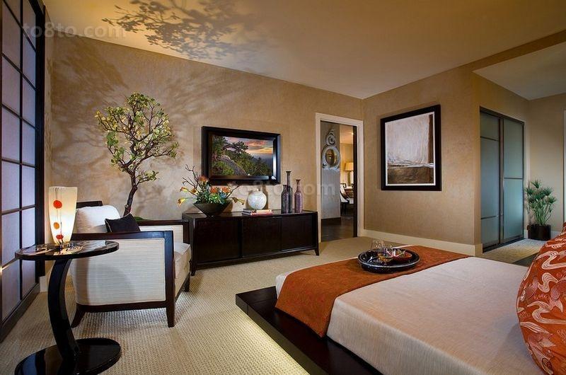 美式现代主卧室装修效果图大全2014图片