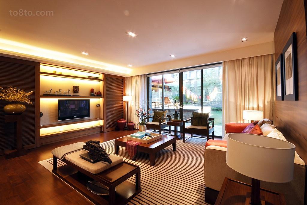 现代中式客厅背景墙装修效果图大全
