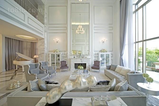 90万装出来的极度豪华简约风格装修客厅背景墙图片