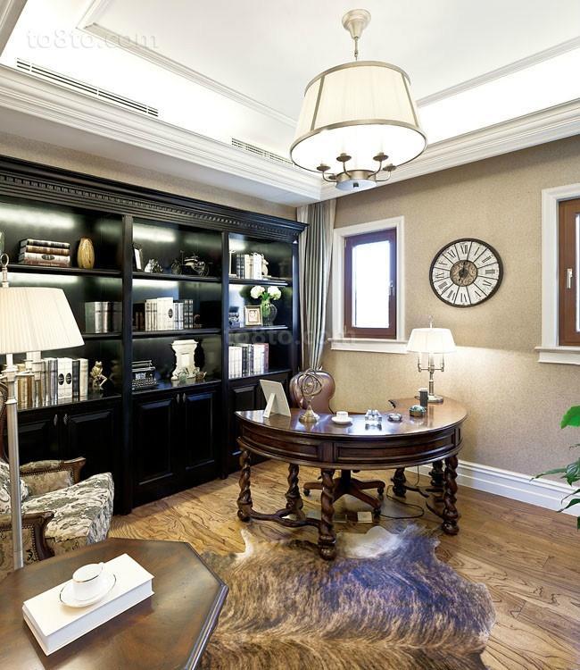 欧式奢华的别墅书房装修效果图大全2014图片